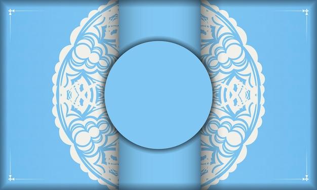 Baner of blue color with mandala white pattern for logo design