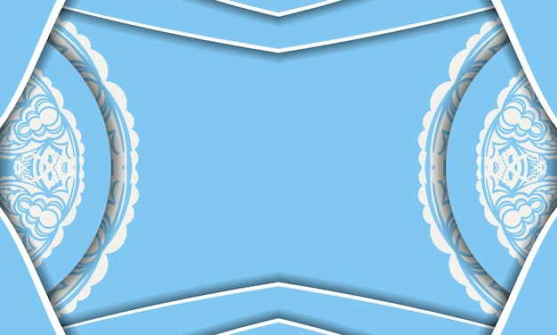 Baner of blue color with a mandala with a white pattern and a place for your logo