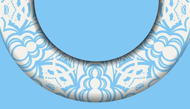 Baner of blue color with vintage white ornament for design under the text