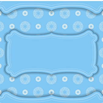 Baner in blue with greek white pattern and a place under the logo