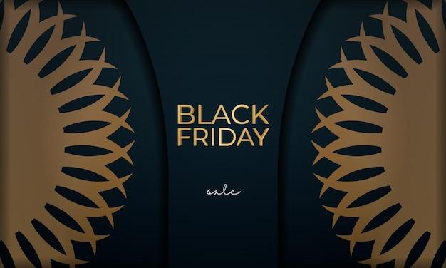 幾何学的な金の装飾が施されたブルーのブラックフライデーのバナー