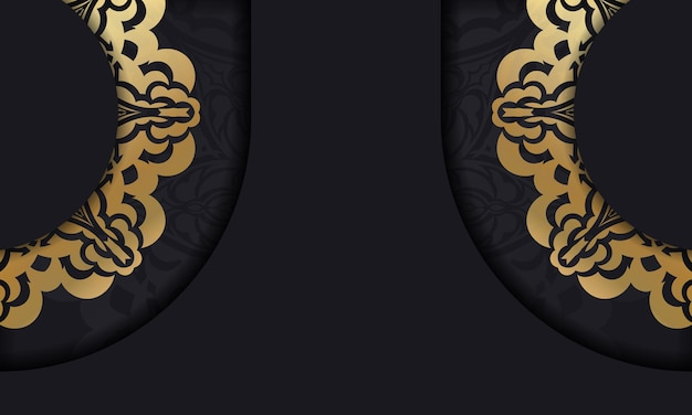 고급스러운 골드 패턴과 텍스트를 위한 장소가 있는 검정색 baner