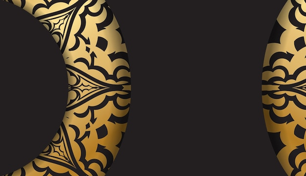 ヴィンテージゴールドのパターンとロゴの下の場所を備えた黒のバナー