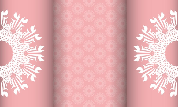 추상적인 흰색 패턴과 로고를 위한 장소가 있는 분홍색의 baner
