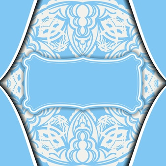 Baner in light blue with abstract white pattern and place under the logo