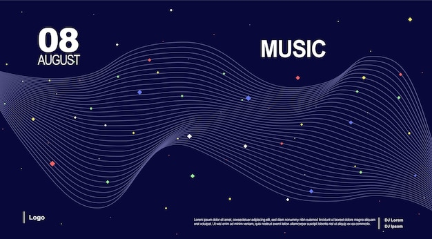 Baner for music page music landing page music wave poster design