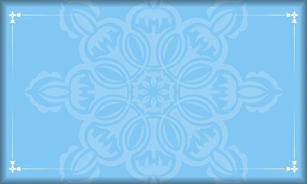 Банер синего цвета с индийскими белыми орнаментами для дизайна под ваш логотип