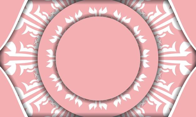 로고 아래 디자인을 위한 인도 흰색 장식이 있는 분홍색의 baner