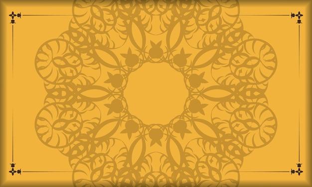 Банер желтого цвета с коричневым рисунком мандалы для дизайна под ваш логотип