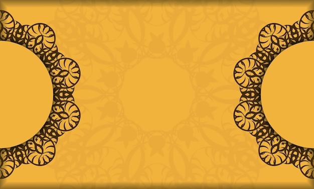 Банер желтого цвета с орнаментом мандала коричневый для дизайна под вашим логотипом