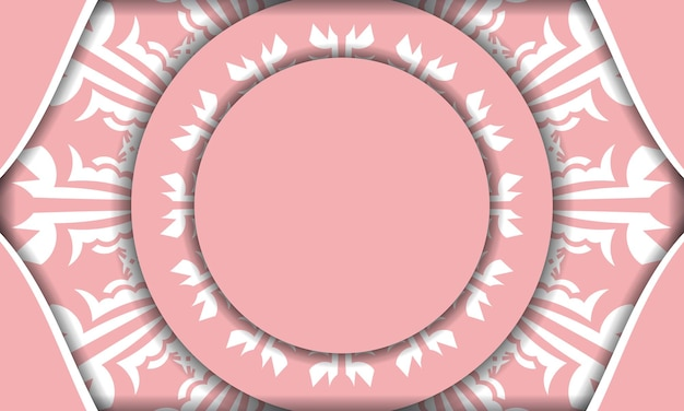 Baner of pink color with indian white ornament for design under your logo