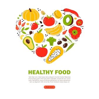 Банер с продуктами здорового питания. плоская иллюстрация шаржа