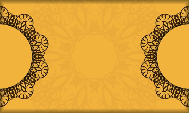 Baner of yellow color with mandala brown ornament for design under your logo