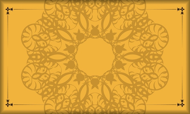 Baner of yellow color with a mandala brown pattern for design under your logo