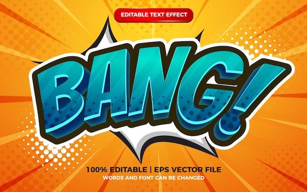 Bang comic cartoon text effect on halftone comic background