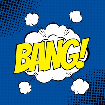 Bang comic strip style with halftone effect.