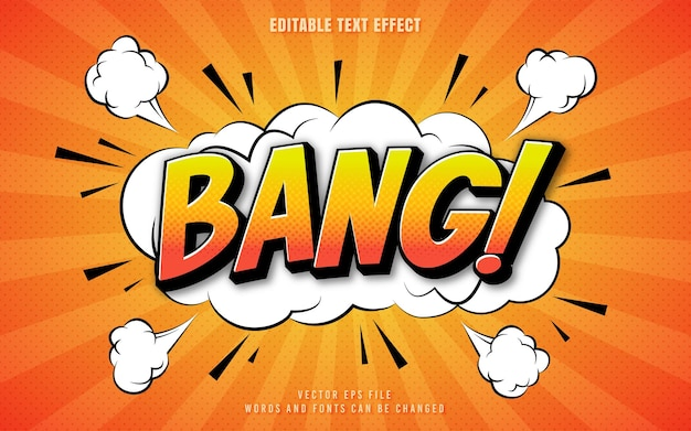 Bang comic text effect with explosion and burst background perfect for poster book or sticker