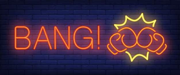 Bang neon text with boxing gloves