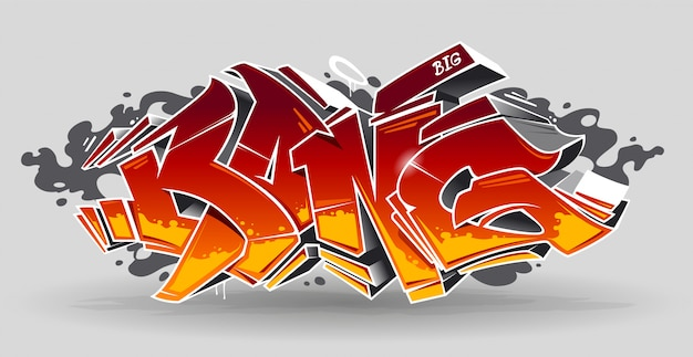 バング-白地に赤と黄色の色を持つ野生のスタイルの落書き3dブロック。ストリートアートグラフィティレタリング。ベクターアート。
