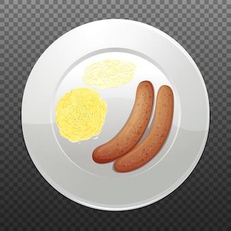 Bangers e mash sul piatto