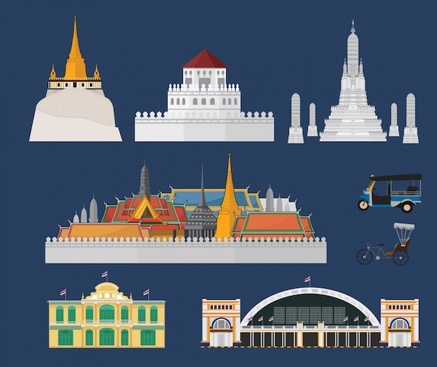 Bangkok city and landmarks