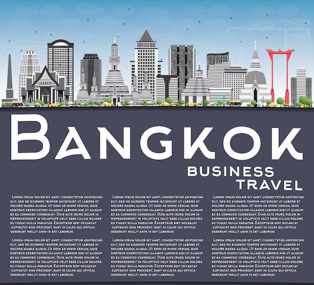 Bangkok skyline with gray landmarks, blue sky and copy space.