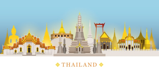 Bangkok, thailand, temple, landmarks skyline background, famous place, travel and tourist attraction