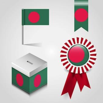 バングラデシュの旗のセット