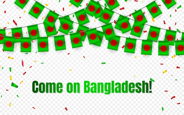 Bangladesh garland flag with confetti on transparent background, hang bunting for celebration template banner,