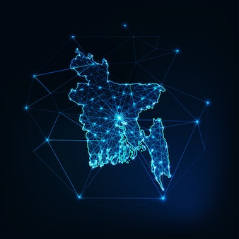 Bangladesh map glowing silhouette outline made of stars lines dots triangles, low polygonal shapes.