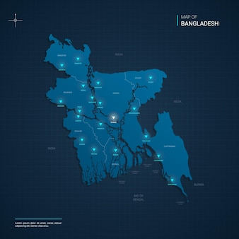 Иллюстрация карты бангладеш с синими неоновыми световыми точками - треугольник на темно-синем градиенте. административное деление, города, границы, столица.