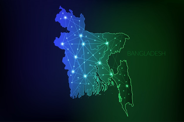 白熱灯とラインでバングラデシュ地図多角形