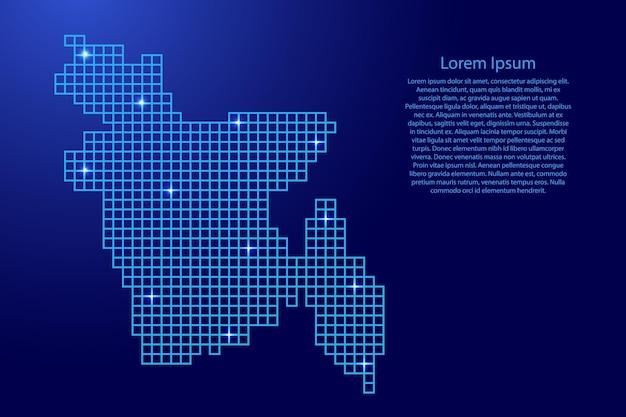 Бангладеш карта силуэт из синей мозаичной структуры квадратов и светящихся звезд. векторная иллюстрация.