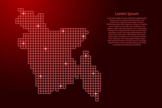 Бангладеш карта силуэт из красной мозаичной структуры квадратов и светящихся звезд. векторная иллюстрация.