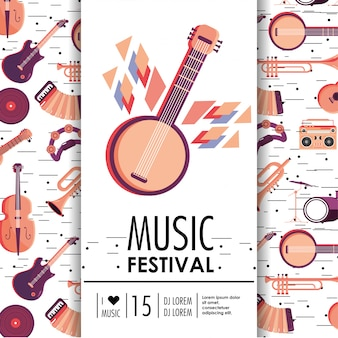 Banjo and instruments to music festival event