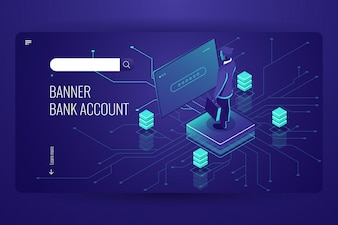 Банковский счет, бухгалтерский онлайн сервис, процесс доступа к данным, искусственный интеллект