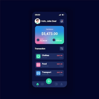 Банковский счет ночной режим смартфона интерфейс вектор шаблон