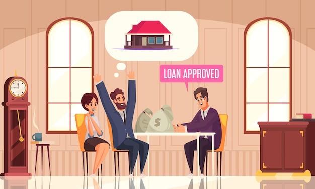 銀行のエージェントと幸せなカップルがローンのベクトル図でお金を稼ぐ