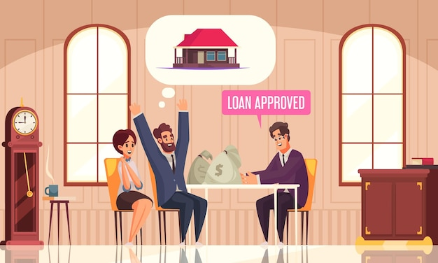 Bank agent and happy couple getting money for loan vector illustration