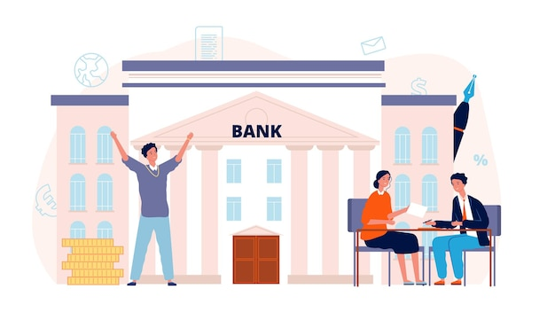 Банковский договор. кредит, мужчина подписывает контракт с менеджером. финансы или инвестиции, счастливый мужской бизнесмен векторный концепт