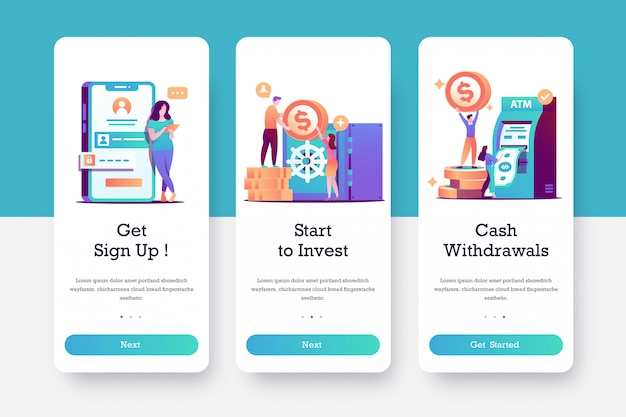 Bank app onboarding page