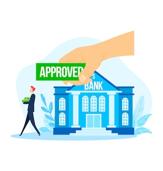 Bank approved business man  credit,  illustration. success money loan for people finance investment, mortgage and contract concept.