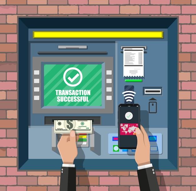 Банкомат в банке. банкомат.