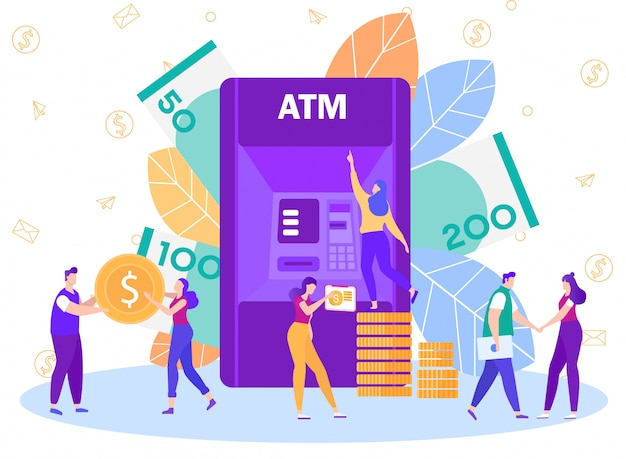Bank atm network service flat vector concept