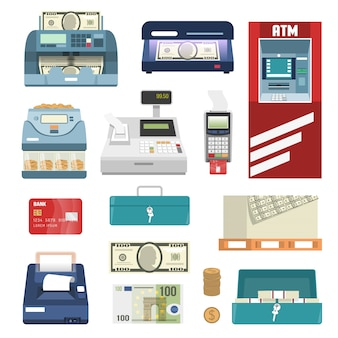 Bank attributes icon set