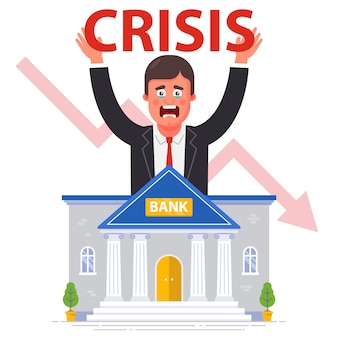 Банкротство банков на фоне мирового финансового кризиса. плоская иллюстрация.