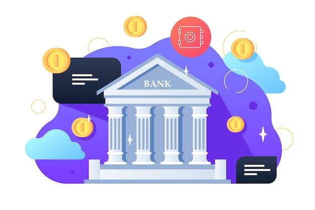Здание банка и монеты иллюстрации. здание архитектуры с плоским стилем столбцов. обмен денег и концепция финансовых услуг. государственное учреждение изолировано