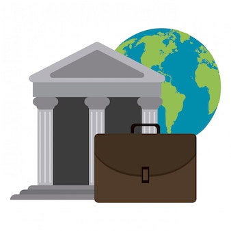 Bank building and briefcase with world