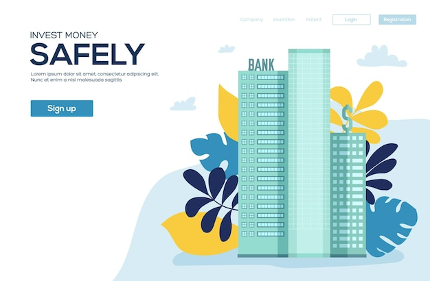 Bank building in city space with road on flat syle background concept