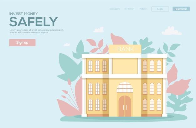 Bank building concept flyer, web banner, ui header, enter site.modern illustration slider site page.